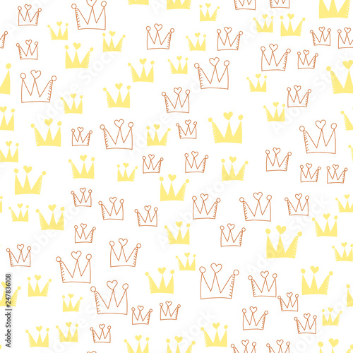 Vintage Crown Pattern For Wallpaper Design Seamless