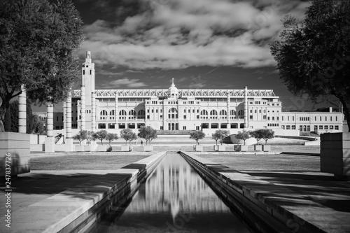 Fényképezés  Black and white infrared photo,Spain, Barcelona, Plaza Europe