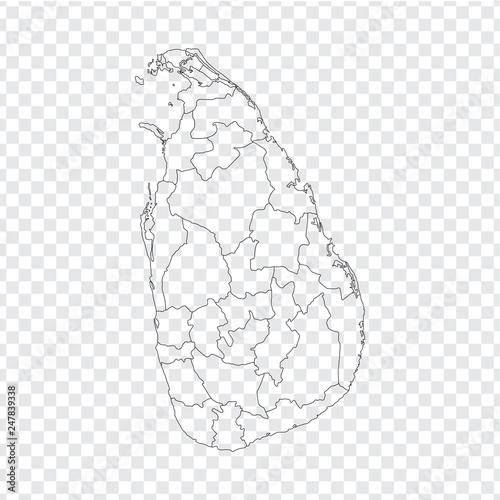Blank map Sri Lanka. High quality map Sri Lanka with provinces on ...