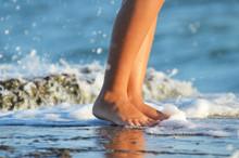 Close Up Legs At The Seashore,photo