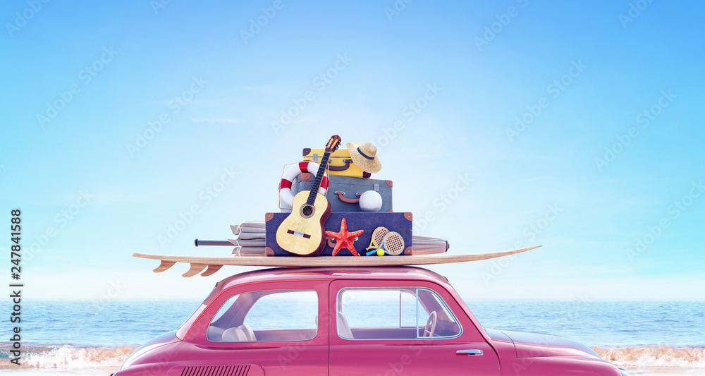 Fototapeta Car with luggage ready for summer travel holidays 3D Rendering