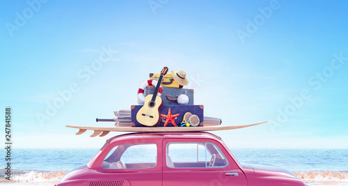 Car with luggage ready for summer travel holidays 3D Rendering