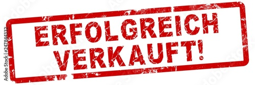 Stampa su Tela nlsb2 NewLongStampBanner nlsb - german text: ERFOLGREICH VERKAUFT! - simple stam