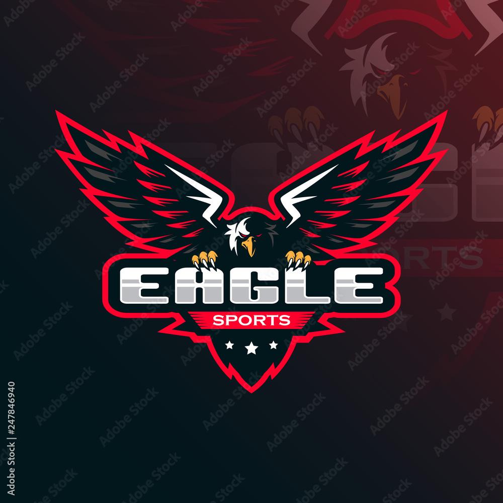 Fototapeta eagle vector mascot logo design with modern illustration concept style for badge, emblem and tshirt printing. eagle illustration for sport and esport team.