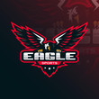 eagle vector mascot logo design with modern illustration concept style for badge, emblem and tshirt printing. eagle illustration for sport and esport team.