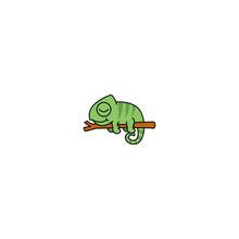 Lazy Chameleon Sleeping On A Branch Cartoon, Vector Illustration