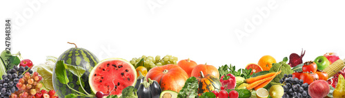 Foto op Plexiglas Verse groenten Banner from various vegetables and fruits isolated on white background, collage. Concept of healthy eating, food background. Border of vegetables with space for text.