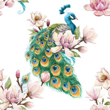 Watercolor Peacock Vector Patt...
