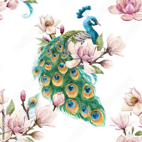 Naklejki paw   watercolor-peacock-vector-pattern