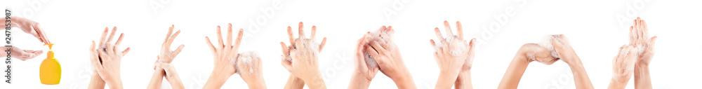Fototapeta girl hand washing isolated on white background
