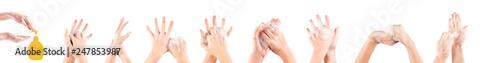 Obraz girl hand washing isolated on white background - fototapety do salonu