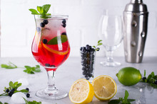 Fresh Blueberry Summer Mojito Cocktail. Blueberry Lemonade Or Sangria On White