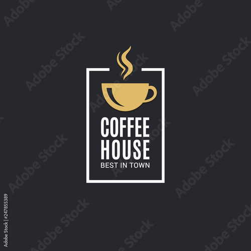 Fototapeta Coffee cup logo. Coffee house label on black