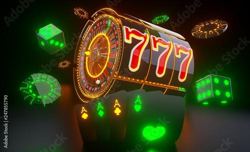 Photo  Casino Gambling Concept With Futuristic Neon Lights - 3D Illustration