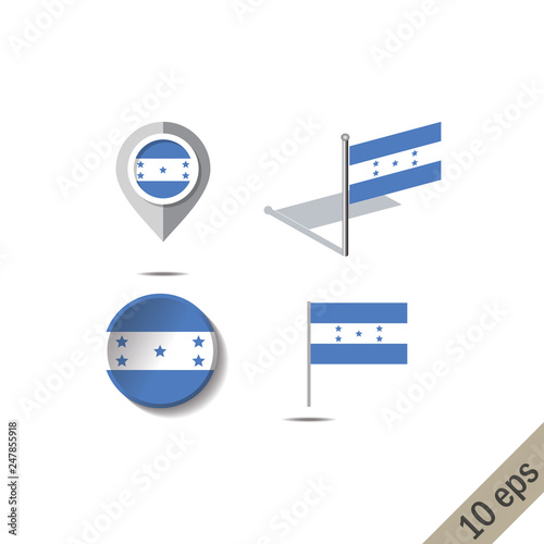 Map pins with flag of HONDURAS - Buy this stock vector and