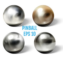 Steel Pinball Balls On White Surface Realistic Vector