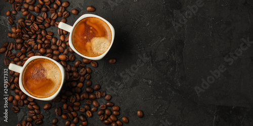 Door stickers Cafe coffee freshly brewed in a white cup serving of beverage (coffee grain). food. top.copy save