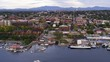 Burlington Vermont, Sunset Flying Aerial Drone Shot New England