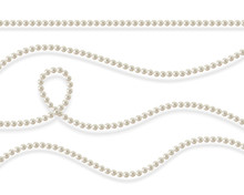 Threads Of Pearls. Beads. Jewelry. Beautiful Vector Background.