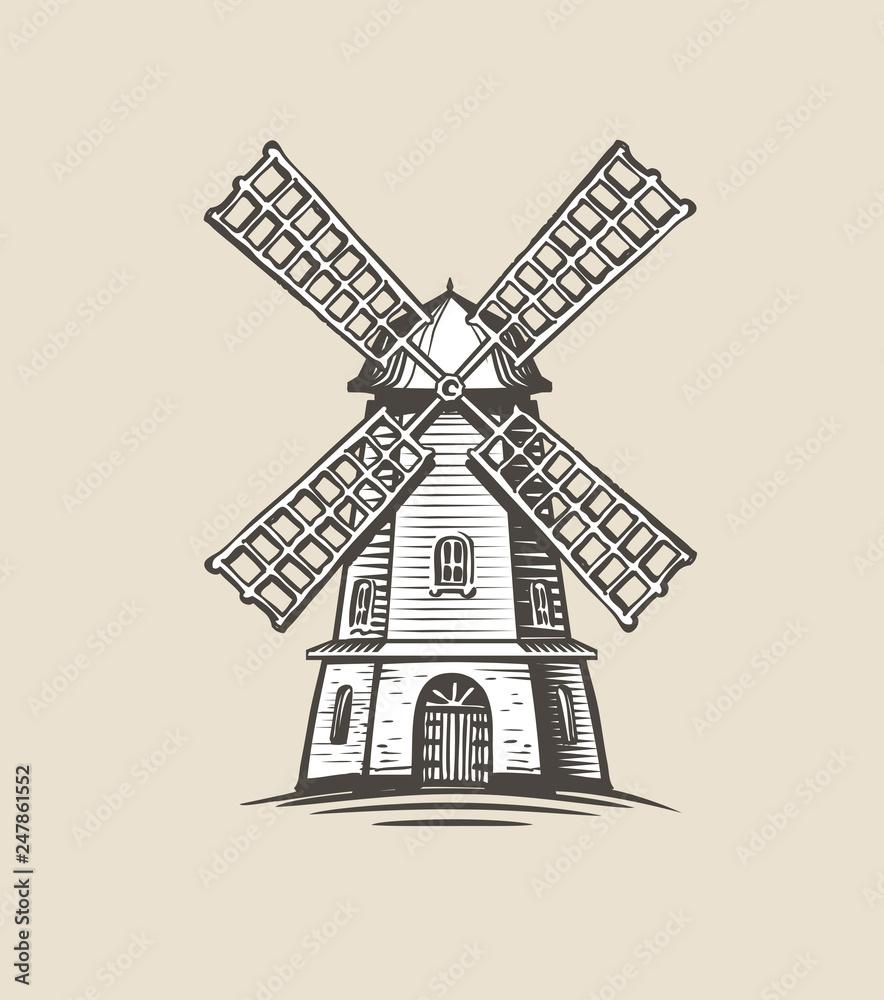 Fotografia Windmill, mill logo or label