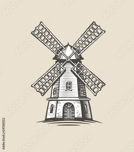 Stampa su Tela Windmill, mill logo or label