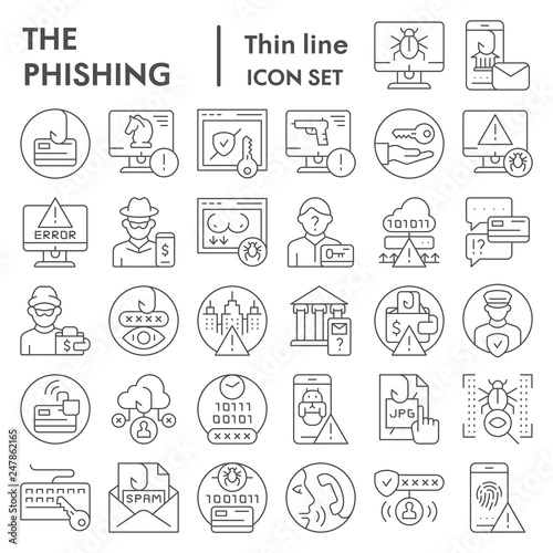 Fotografía  Phishing thin line icon set, cyber crime symbols collection, vector sketches, logo illustrations, hacking signs linear pictograms package isolated on white background, eps 10