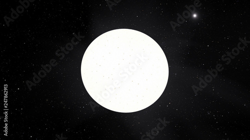 Photo  Exoplanet 3D illustration sunwhite star Sirius with spots against a black sky (E