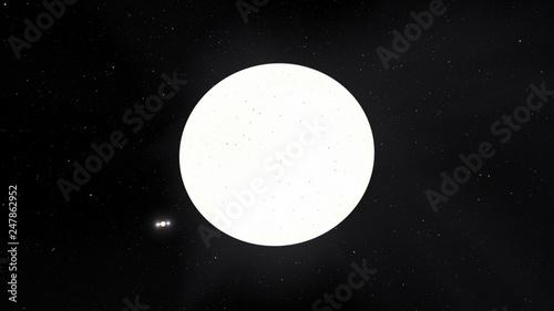 Exoplanet 3D illustration sunwhite star Sirius with spots against a black sky (E Fototapet