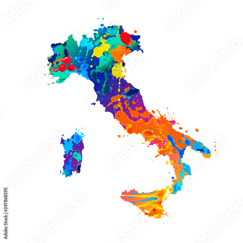 Fotografía Italy. Silhouette of Italian map of splash paint
