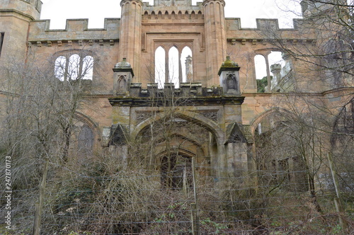 The striking ruins of Crawford Priory, Springfield, Cupar, Fife, extended in early 19th century Poster Mural XXL