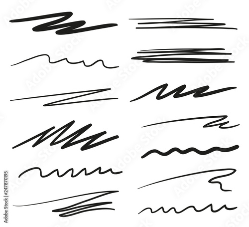 Fototapeta Infographic elements isolated on white. Set of different sketchy signs. Backgrounds with array of lines. Stroke chaotic backdrops. Hand drawn patterns. Black and white illustration. Elements for work obraz na płótnie