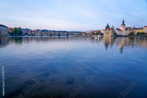 Photo  River View of Bridge in Prague