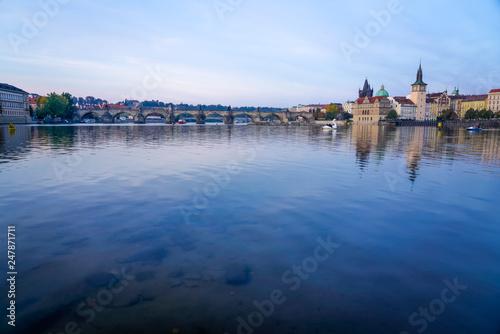 Photo  River View of Bridge in Prague
