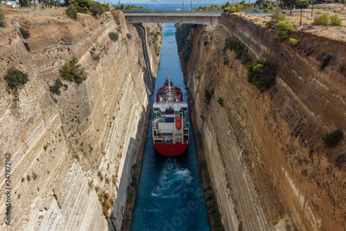 Large ship passing through Corinth canal Canvas-taulu