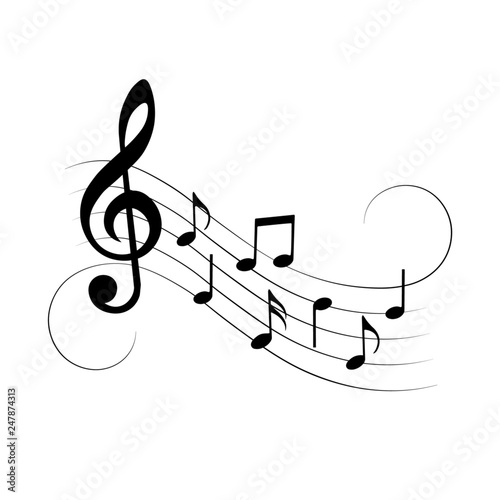 Music notes with swirls, isolated, vector illustration. © Vectorry