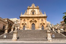 Freitreppe With 12 Statues Of The Apostles, Cathedral Duomo Di San Pietro, Modica, Monti Iblei, Val Di Noto, UNESCO World Heritage Site, Provincia Di Ragusa, Sicily, Italy, Europe