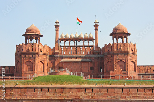Fortification Lal Qila - Red Fort in Delhi, India