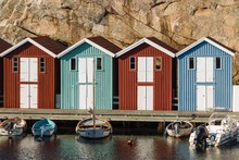 Boats And Colourful Boathouses In The Harbour Of Smogen, Smogenbryggan, Vastra Gotalands Lan, Bohuslan, Sweden, Europe