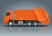 Flat Garbage Truck. Garbage Recycling And Utilization Equipment. City Waste Recycling Concept With Garbage Truck.
