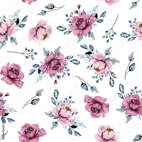 Seamless pattern with watercolor pink flowers, botanical hand painting, isolated on white background.