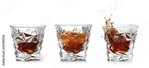 Recess Fitting Alcohol Set of glasses with expensive whiskey on white background