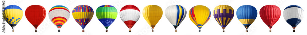 Fototapeta Set of bright colorful hot air balloons on white background