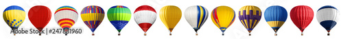 Poster Ballon Set of bright colorful hot air balloons on white background