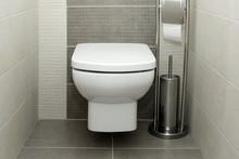 White Toilet Bowl In Modern Ba...