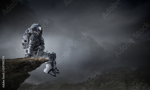 Spaceman in cosmos. Mixed media - fototapety na wymiar