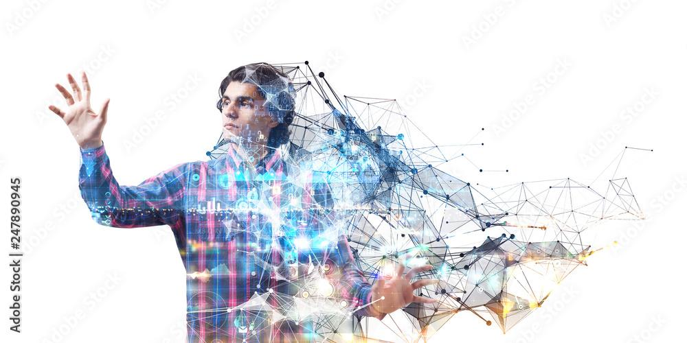 Fototapety, obrazy: Experiencing virtual technology world. Mixed media
