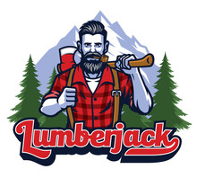 Lumberjack With Pipe And Holding The Big Axe
