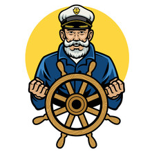 Old Sailor Captain Holding The Ship Wheel