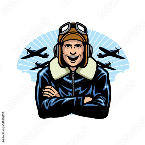 world war pilot smiling Fototapeta