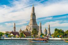 Temple Of Dawn Wat Arun With Chao Praya River Sightseeing Landmark Of Bangkok
